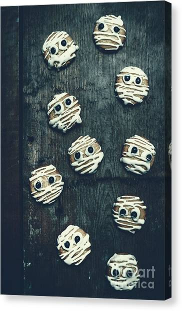 Horror Canvas Print - Halloween Mummy Cookies by Jorgo Photography - Wall Art Gallery