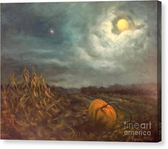 Halloween Mystery Under A Star And The Moon Canvas Print