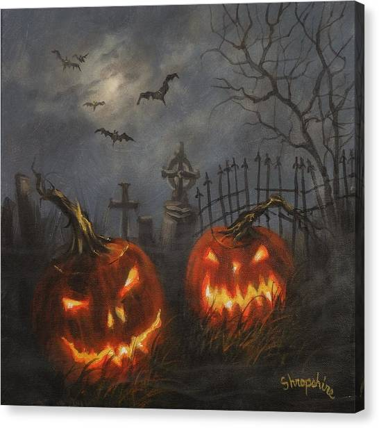 Halloween Canvas Print - Halloween On Cemetery Hill by Tom Shropshire