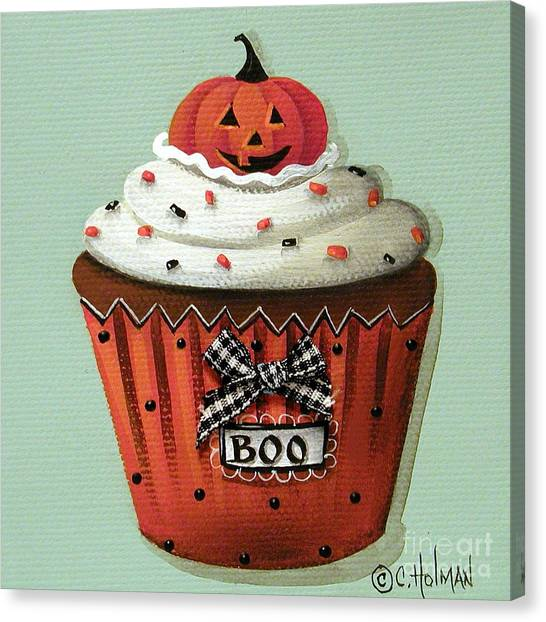 Country Kitchen Decor Canvas Print - Halloween Pumpkin Cupcake by Catherine Holman