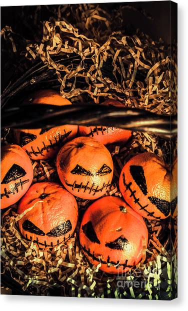 Pumpkins Canvas Print - Halloween Pumpkin Head Gathering by Jorgo Photography - Wall Art Gallery
