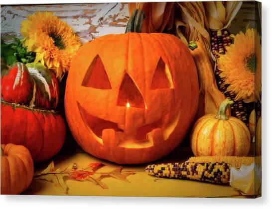 Indian Corn Canvas Print - Halloween Pumpkin Smiling by Garry Gay