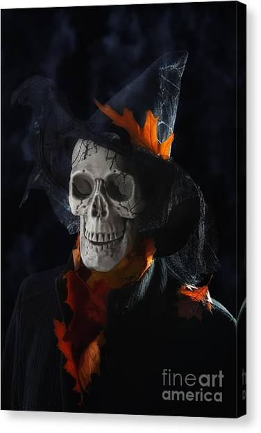 Hat Trick Canvas Print - Halloween Skull by Amanda Elwell