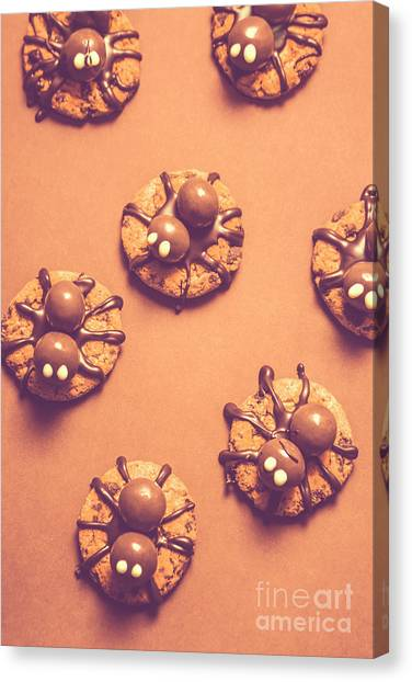Spiders Canvas Print - Halloween Spider Cookies On Brown Background by Jorgo Photography - Wall Art Gallery
