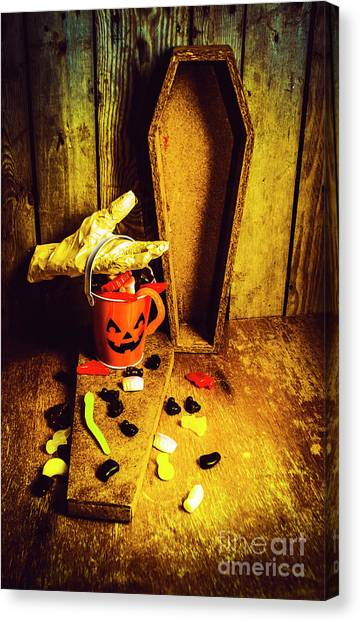 Pumpkins Canvas Print - Halloween Trick Of Treats Background by Jorgo Photography - Wall Art Gallery