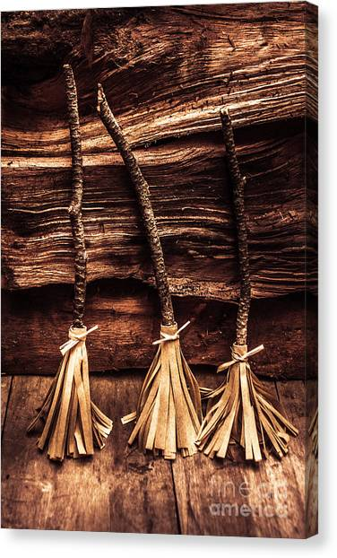 Witches Canvas Print - Halloween Witch Brooms by Jorgo Photography - Wall Art Gallery