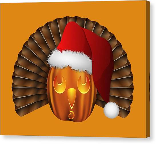 Hallowgivingmas Santa Turkey Pumpkin Canvas Print