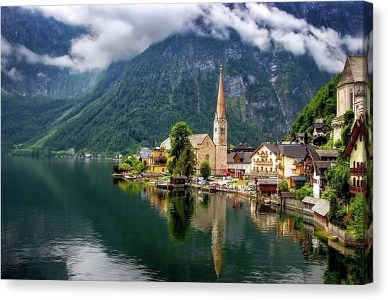 Hallstatt Across The Lake, Austria  Canvas Print
