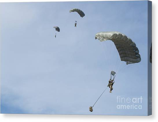 Green Berets Canvas Print - Halo Jumpers Prepare To Land by Stocktrek Images