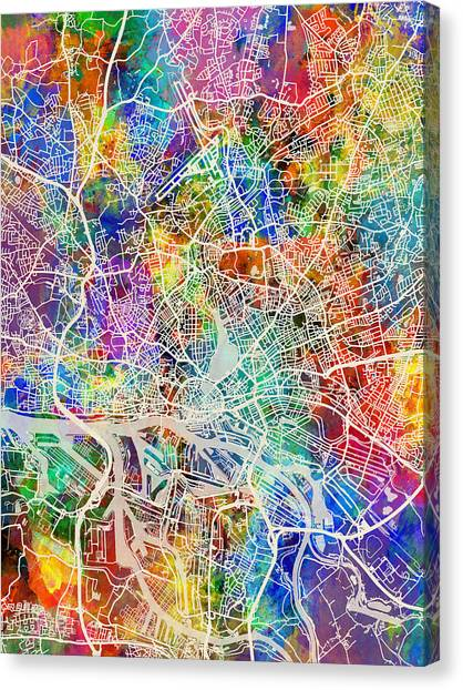 Canvas Print - Hamburg Germany City Map by Michael Tompsett