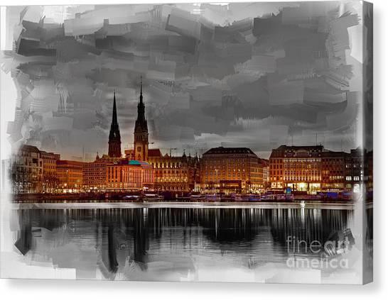 Hamburg Germany Skyline 01 Canvas Print