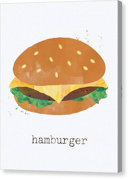 Meat Canvas Print - Hamburger by Linda Woods