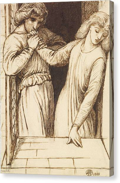 Shakespeare Canvas Print - Hamlet And Ophelia - Compositional Study by Dante Gabriel Rossetti