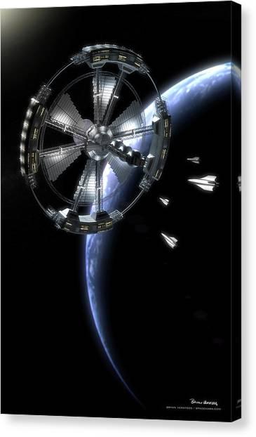 Canvas Print featuring the digital art Hammer Station In Earth Orbit by Bryan Versteeg