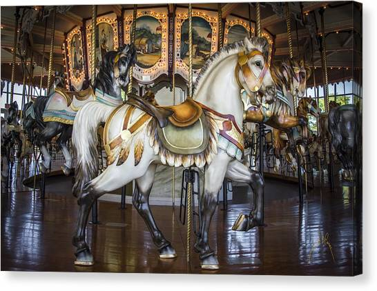 Canvas Print featuring the photograph Hampton Carousel by Williams-Cairns Photography LLC