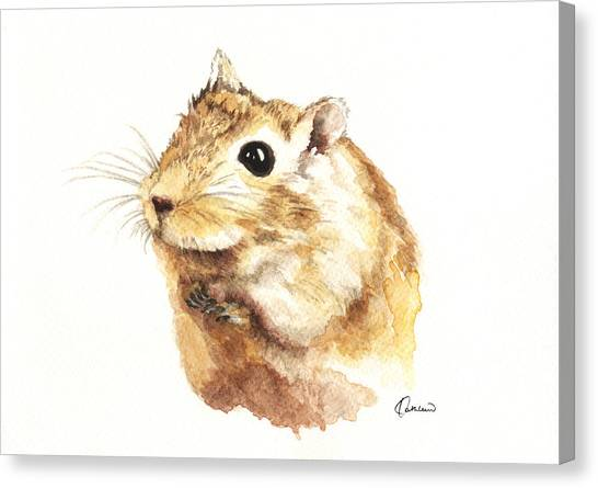 Watercolor Pet Portraits Canvas Print - Hamster by Kathleen Wong