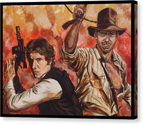 Raiders Of The Lost Ark Canvas Print - Han Solo And Indiana Jones by Joel Tesch