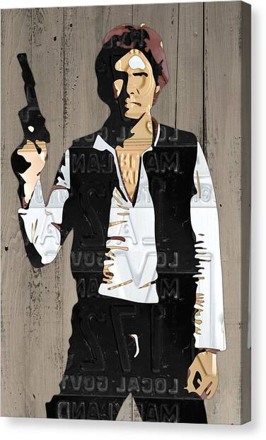 Han Solo Canvas Print - Han Solo Vintage Recycled Metal License Plate Art Portrait On Barn Wood by Design Turnpike