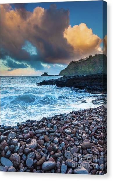 Splashy Canvas Print - Hana Bay Pebble Beach by Inge Johnsson