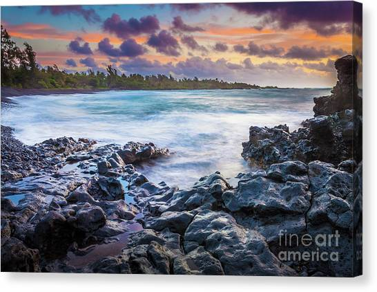 Splashy Canvas Print - Hana Bay Rocky Shore #1 by Inge Johnsson