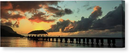 Hanalei Pier Sunset Panorama Canvas Print