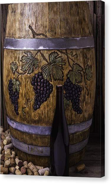 Wine Barrels Canvas Print - Hand Carved Wine Barrel by Garry Gay