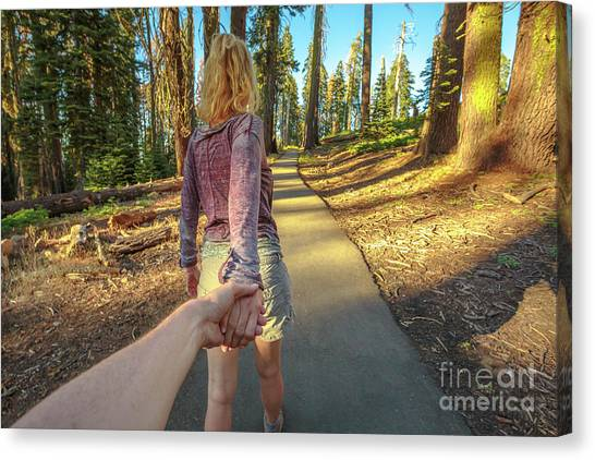 Hand In Hand Sequoia Hiking Canvas Print