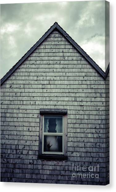 Haunted House Canvas Print - Hand In The Window by Edward Fielding