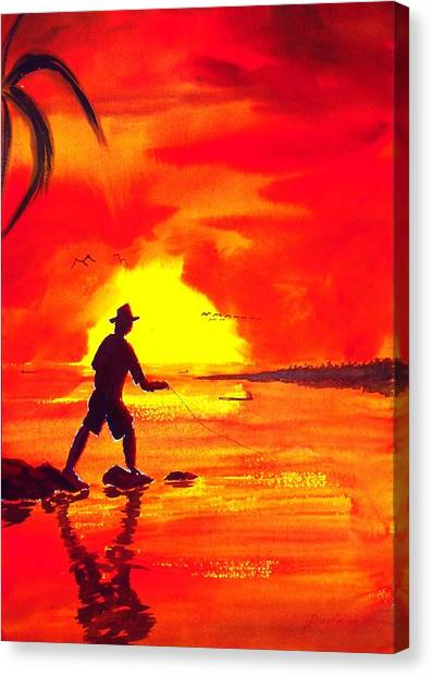 Hand Line Fisherman Canvas Print by Buster Dight