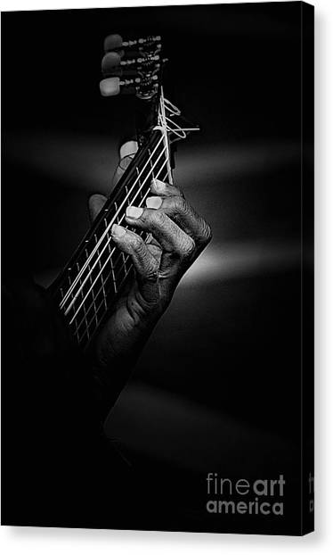 Guitars Canvas Print - Hand Of A Guitarist In Monochrome by Sheila Smart Fine Art Photography