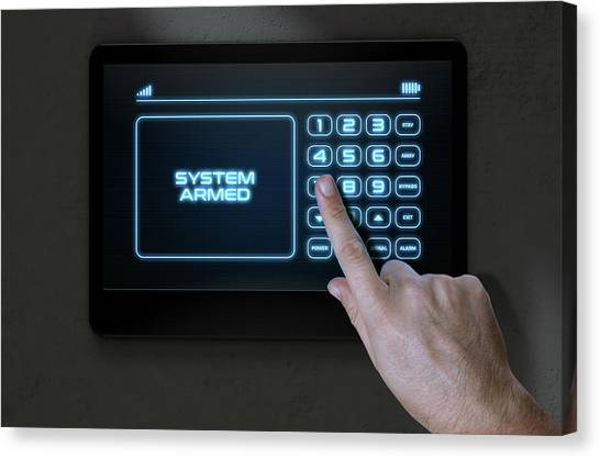 Keypad Canvas Print - Hand Pressing Modern Home Security by Allan Swart