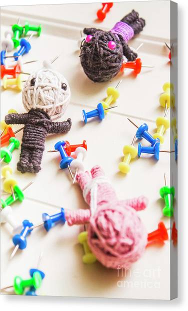 Pin-up Canvas Print - Handmade Knitted Voodoo Dolls With Pins by Jorgo Photography - Wall Art Gallery