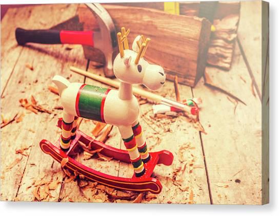 Ponies Canvas Print - Handmade Xmas Rocking Toy by Jorgo Photography - Wall Art Gallery