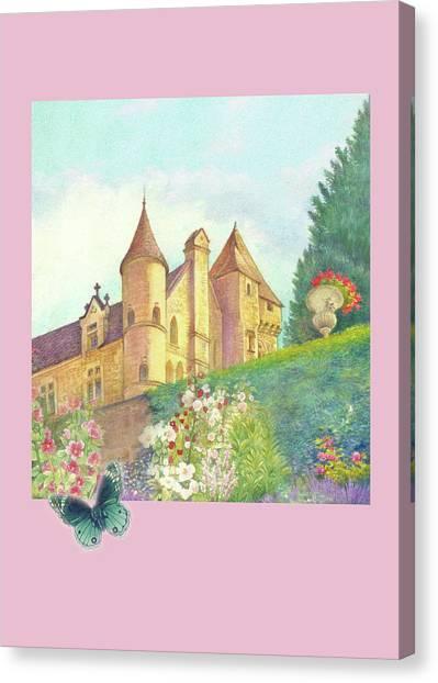 Handpainted Romantic Chateau Summer Garden Canvas Print