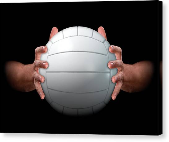 Volleyball Canvas Print - Hands Gripping Volleyball by Allan Swart