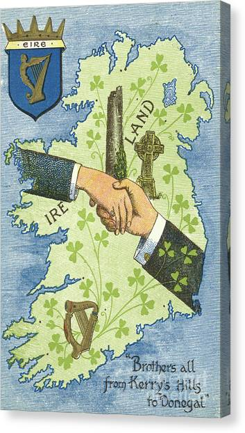 Independence Day Canvas Print - Hands Shaking Across Ireland by Irish School