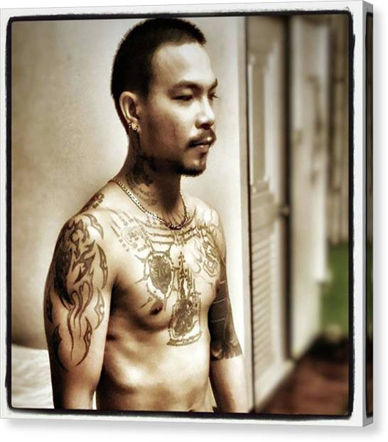 Canvas Print featuring the photograph Handsome Man With Tattoos. #thailife by Mr Photojimsf