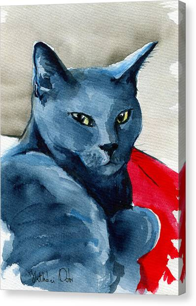 Handsome Russian Blue Cat Canvas Print