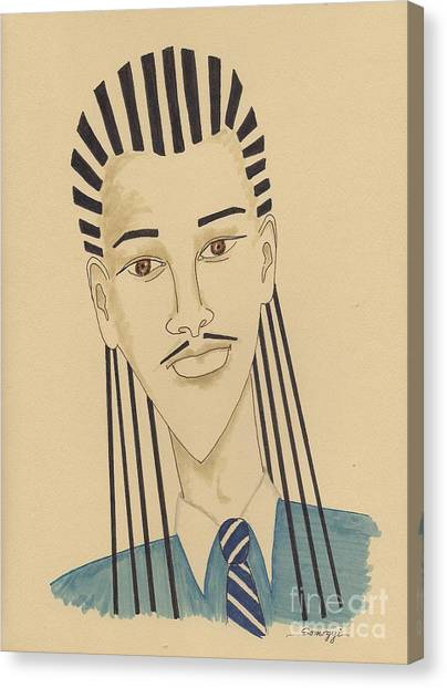 Handsome Young Man -- Stylized Portrait Of African-american Man Canvas Print