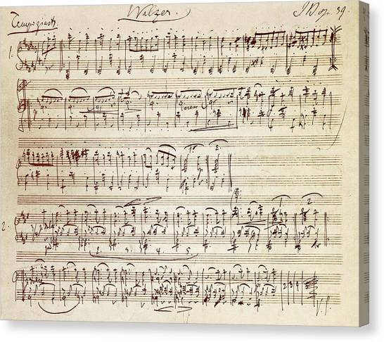 Pen Canvas Print - Handwritten Score For Waltz For Piano, Opus 39 by Johannes Brahms