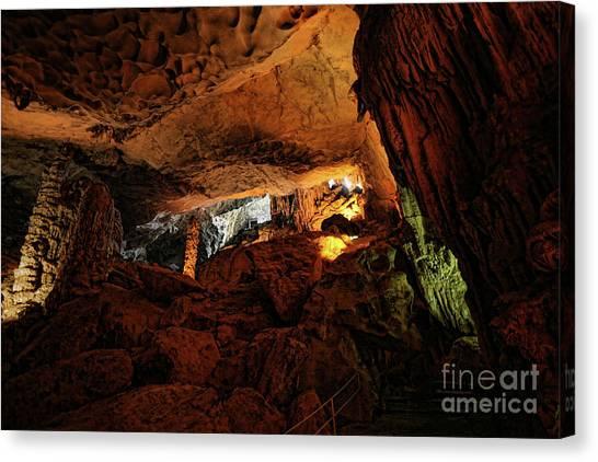 Limestone Caves Canvas Print - Hang Sung Sot Limestone 1 Cave Vietnam  by Chuck Kuhn