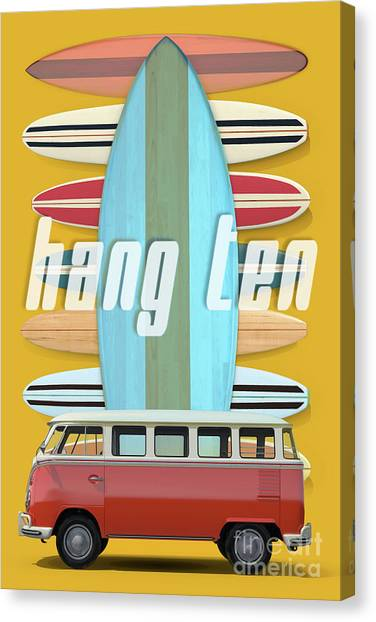 Canvas Print featuring the digital art Hang Ten Surfboard Surfer Van by Edward Fielding
