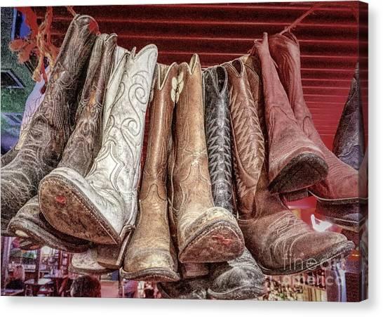 Hangin' Boots Canvas Print
