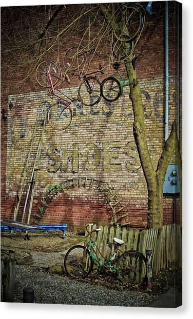 Hanging Bikes Canvas Print