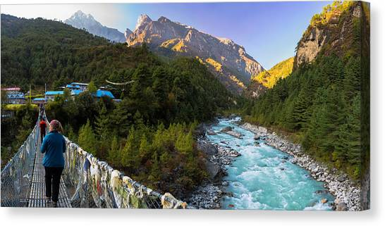 Canvas Print featuring the photograph Hanging Bridge Over The Dudh Kosi by Owen Weber