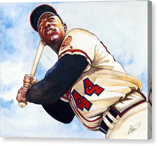 Atlanta Braves Canvas Print - Hank Aaron by Dave Olsen