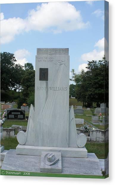 Hank Williams Sr. Headstone Canvas Print by Carolyn Postelwait