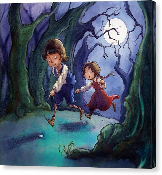 Hansel And Gretel Pebbles Canvas Print