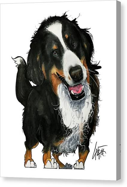 Bernese Mountain Dogs Canvas Print - Hanson 3916 by John LaFree