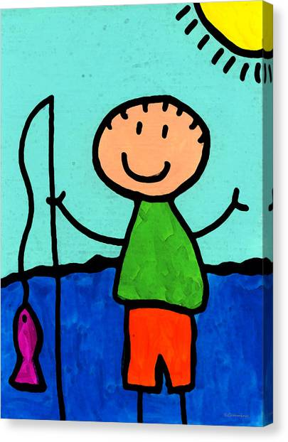Elementary School Canvas Print - Happi Arte 2 - Boy Fish Art by Sharon Cummings